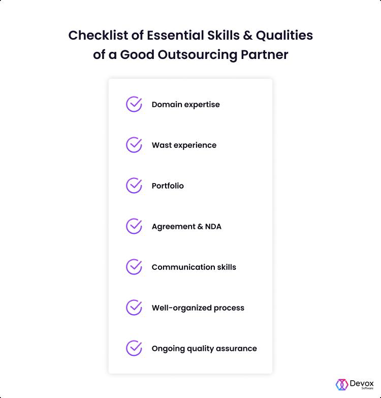 checklist to outsource web development